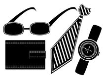Glasses watch necktie and purse Royalty Free Stock Images