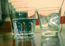 Glasses of water with ice Royalty Free Stock Photos
