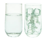 Glasses of Water and Ice Cubes Stock Photo