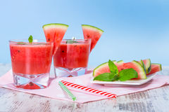 Glasses of watermelon smoothie Stock Photo
