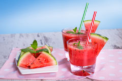 Glasses of watermelon smoothie Stock Photography