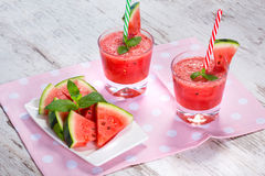 Glasses of watermelon smoothie Stock Images