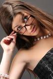 glasses wearing woman 库存图片