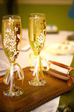 Glasses with wedding champagne. Beautiful wedding glasses with champagne, Wedding background Stock Photos