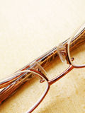 Glasses on wet wood table Royalty Free Stock Photo
