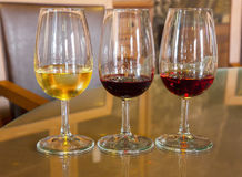 Glasses of  white and ruby port wine Royalty Free Stock Photos