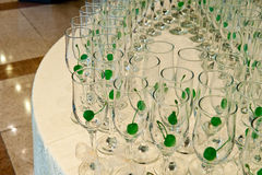Glasses on white table prepare for guests Royalty Free Stock Photography