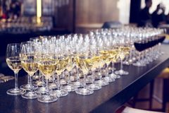 Glasses of white wine on bar counter, toned Royalty Free Stock Image