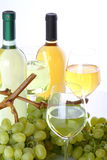 Glasses of white wine and grapes. Glasses of white wine with white grapes on white background Royalty Free Stock Images