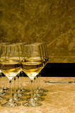 Glasses with white wine on marble Royalty Free Stock Photo