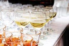 Glasses of white wine Stock Images