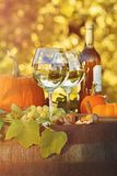 Glasses of white wine with pumpkins on barrel stock image