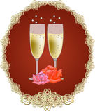 Glasses with white wine. And two red roses Royalty Free Stock Photos