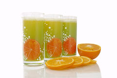 Glasses wiht orange slices Royalty Free Stock Images