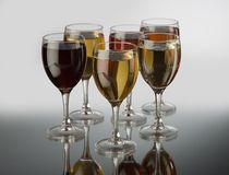 Glasses with wine. Of a different grade Royalty Free Stock Photography