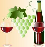 Glasses and wine. Against the background of the vine two glasses of red wine and a bottle Royalty Free Stock Photos