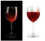 Glasses of wine. Isolated on the white and black background. Vector Royalty Free Stock Photography