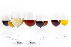 Glasses of wine. Set of wine glasses ready for celebrating Stock Photo