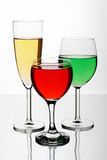 Glasses of wine. Three glasses with fine wine Royalty Free Stock Photo