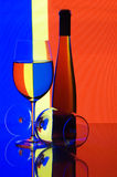 Glasses and wine. Two glasses and wine bottle Royalty Free Stock Images
