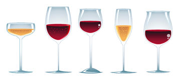Glasses of wine. Vector Image, software: Illustrator Stock Images