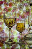 Glasses of wine on abstract background Stock Photo