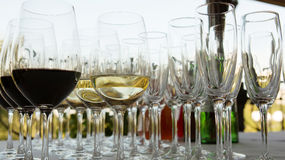 Glasses of wine at the bar Stock Photography
