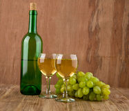 Glasses of wine and bottle Royalty Free Stock Photo