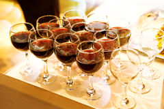Glasses of wine. Catering with Glasses of red wine Stock Images