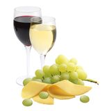 Glasses of wine, cheese and ripe grapes isolated on white Royalty Free Stock Photos