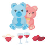 Glasses with wine, chocolate hearts, bears, valentine.Romantik set collection icons in cartoon style vector symbol stock Stock Photography