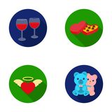 Glasses with wine, chocolate hearts, bears, valentine.Romantik set collection icons in flat style vector symbol stock Stock Photos