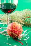 Glasses of wine and Christmas balls Stock Photography