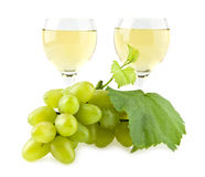 Glasses of wine and cluster of vine Stock Image