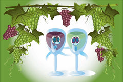 Glasses of wine and grape frame Stock Images