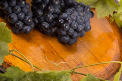 Glasses of wine and grapes on barrel.  Royalty Free Stock Image