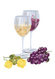 Glasses of wine with grapes and cheese Stock Image