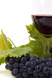 Glasses of wine and grapes on white Stock Image
