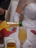 Glasses of wine in the hands of the bride and groom Royalty Free Stock Photo