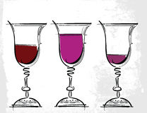 Glasses of wine illustration Royalty Free Stock Photo