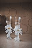 Glasses for wine intended for the newly-married couple 2766. Royalty Free Stock Photography