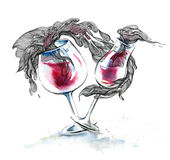 Glasses of wine. Painting of dance glasses with red wine stock illustration