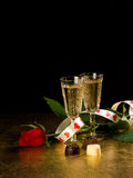 Glasses with wine and red  rose Royalty Free Stock Photography