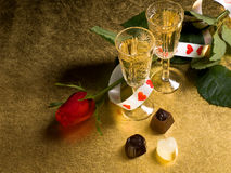 Glasses with wine and red  rose Stock Images