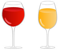 Glasses of wine - red and white. Vector Stock Images