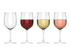 Glasses Of Wine - Set. Isolated on White or Transparent Background Stock Photography