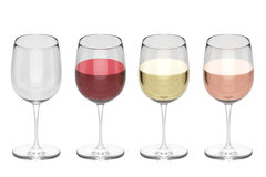 Glasses Of Wine - Set. Isolated on White or Transparent Background Royalty Free Stock Image