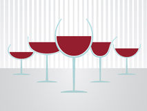 Glasses of wine. Set of simple full glasses of wine Stock Photography