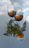 Glasses of wine on the sky Royalty Free Stock Images