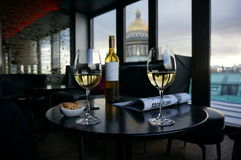 Glasses of wine in St. Petersburg, Russia Royalty Free Stock Photography